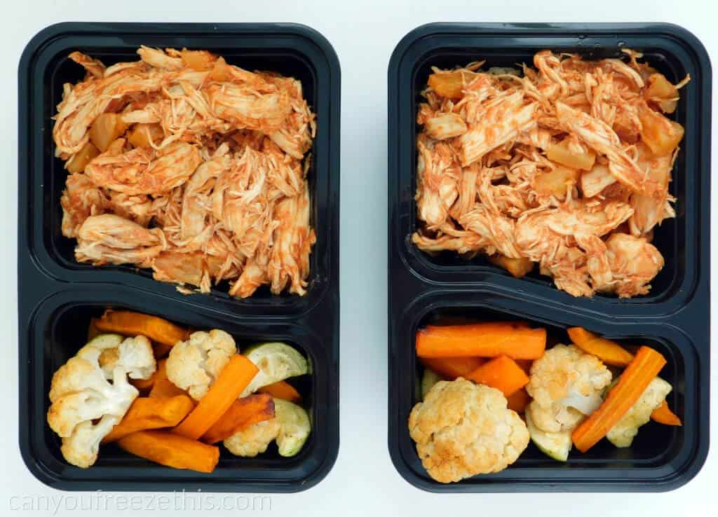 Meal prep containers with cooked-shredded chicken