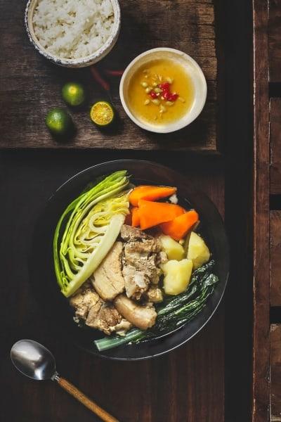 Sliced veggies in a pan