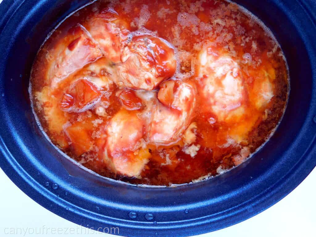 Slow cooking chicken with hawaiian BBQ sauce