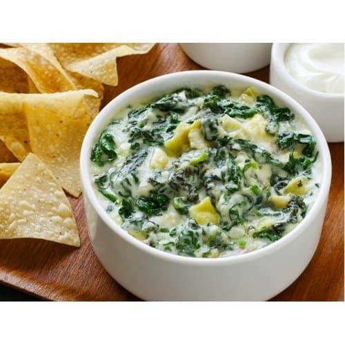 Nachos and spinach dip