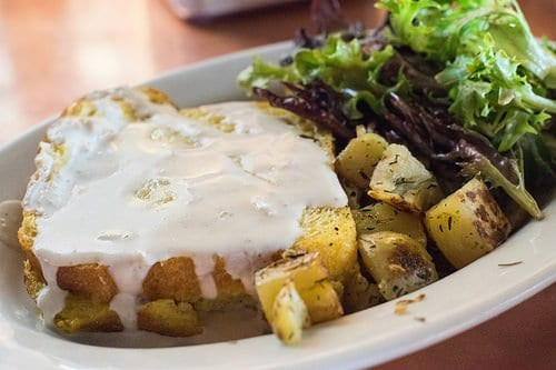 Veggies topped with white sauce