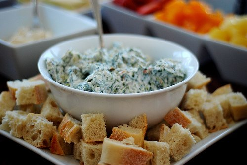 Spinach dip and breadcrumbs