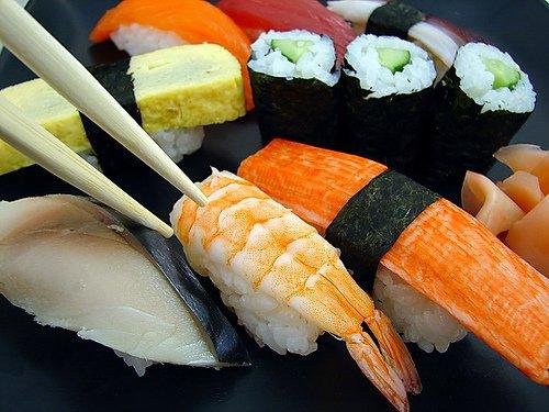 Sushi piece in sticks