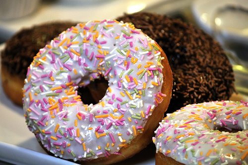 Frosted donuts with sprinkles