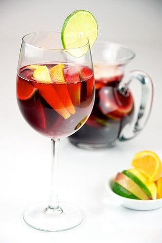 Sangria in wine glass
