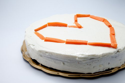 Cake topped with carrots