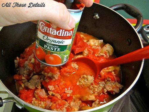 Tomato paste in a dish