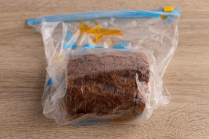 Banana bread in a freezer bag