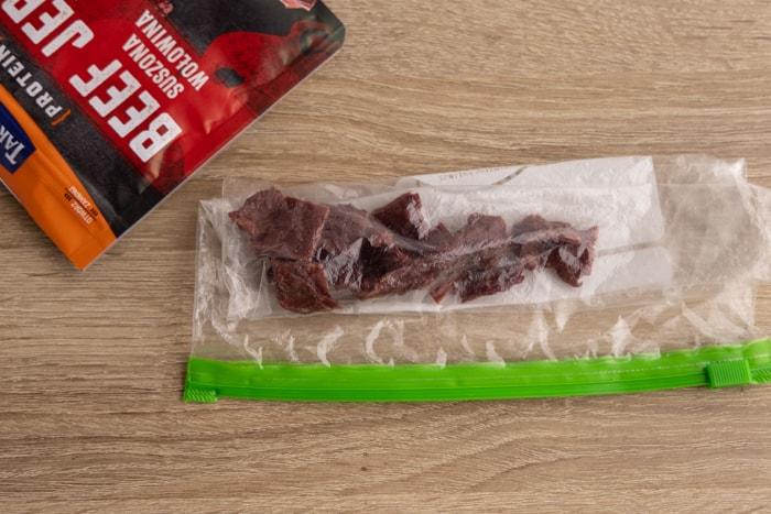 Beef jerky in a freezer bag
