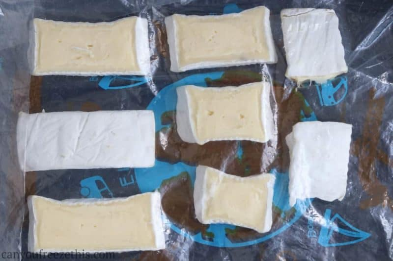 Brie slices packaged for freezing