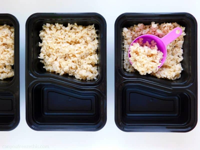 Brown rice to food containers