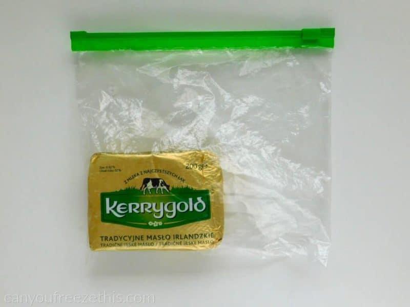 Butter in a freezer bag