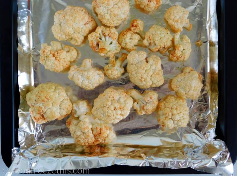 Cauliflower florets before roasting