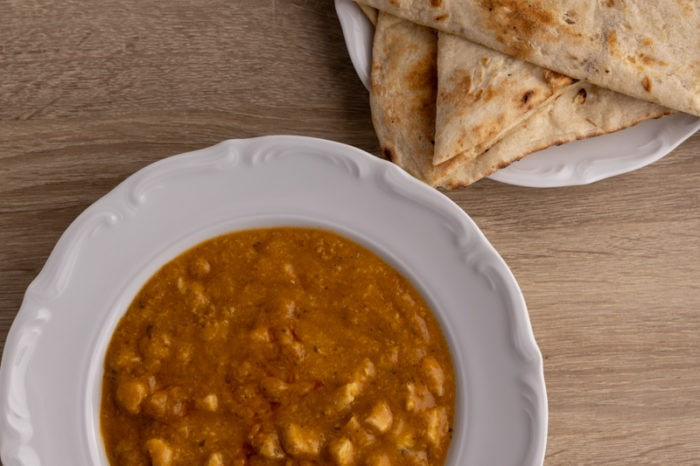 Chicken korma and defrosted naan bread