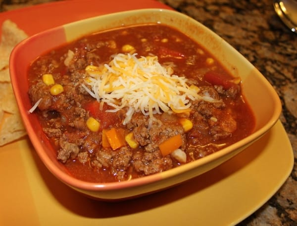 Chili topped with cheese