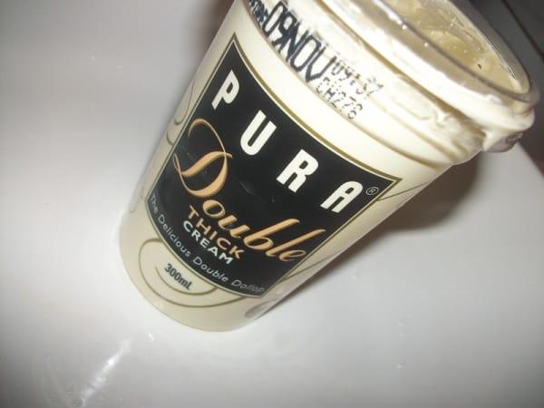 Container of double cream