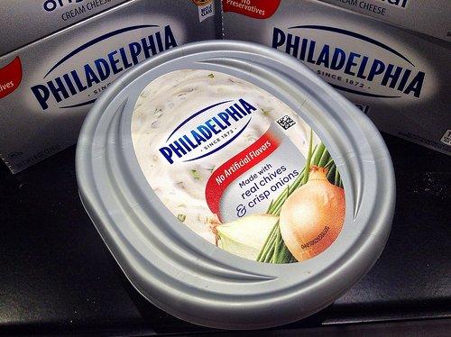 Container of Philadelphia cream cheese