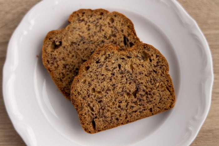 Defrosted banana bread slices