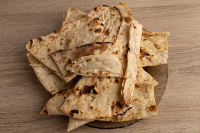 Defrosted naans