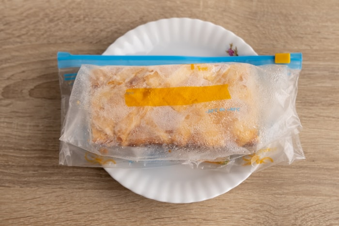 Frozen cheesecake in a freezer bag