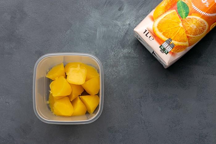 Frozen orange juice cubes
