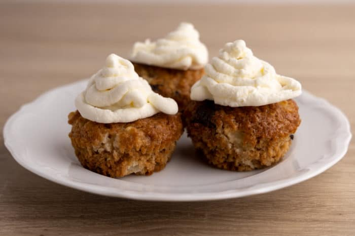 Frozen piped whipped cream on muffins