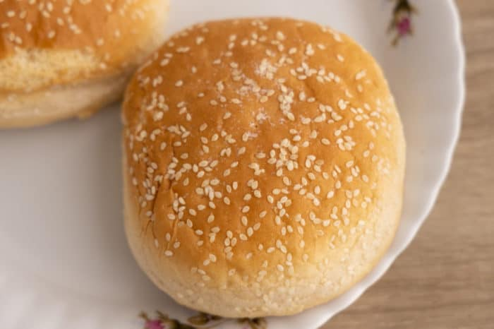 Hamburger bun straight from the freezer
