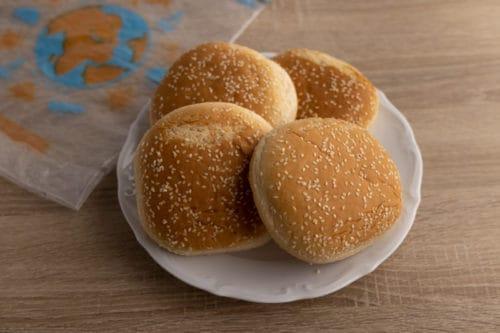 Leftover hamburger buns before freezing