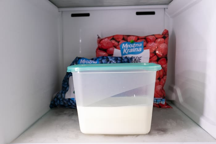 Kefir in a container in the freezer