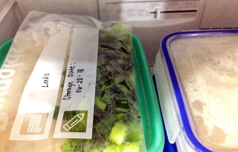 Leeks in freezer