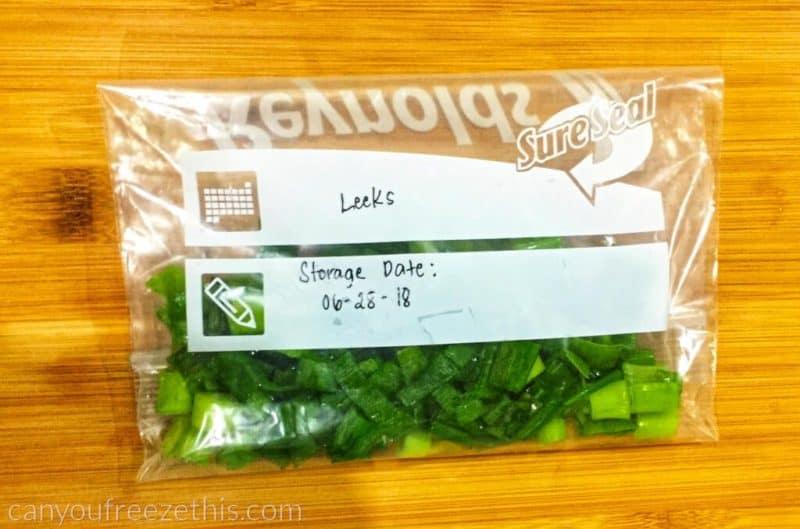 Leeks in a sealed freezer bag