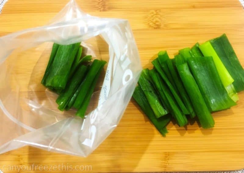 Leeks transferred to a freezer bag