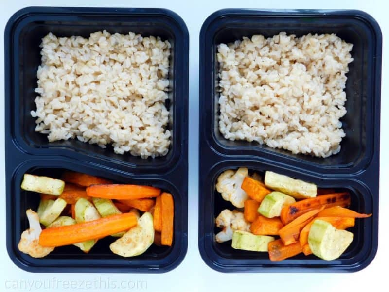 Meal prep container with brown rice