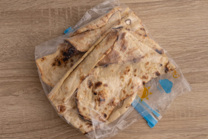 Naan breads in a freezer bag
