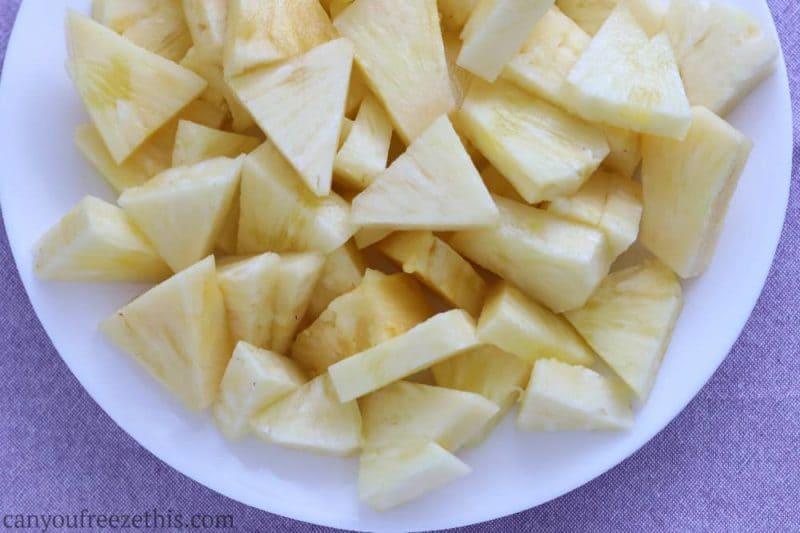 Pineapple chunks on a plate