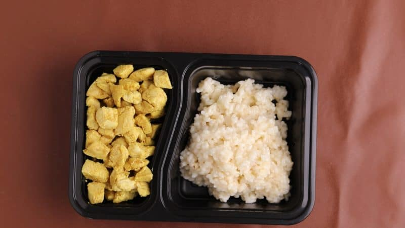 Risotto and chicken packaged