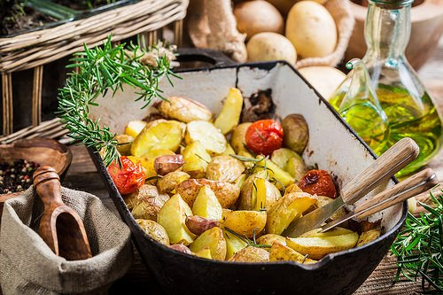 Roasted potatoes fresh from stove