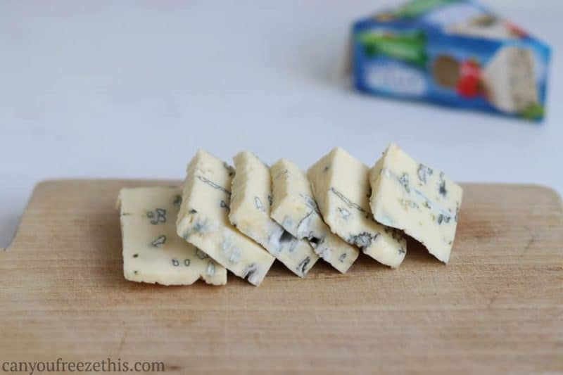 Sliced blue cheese