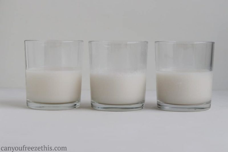 Comparison of fresh, thawed, and thawed and blended coconut milk