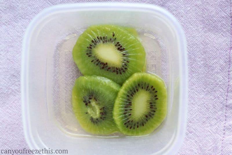 Thawed kiwi slices