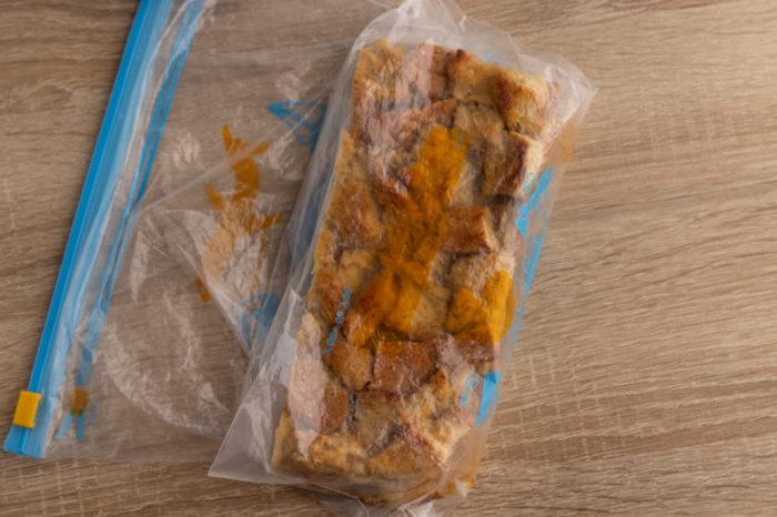 Bread pudding in a freezer bag before freezing