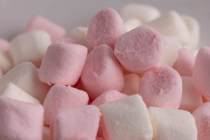 Defrosting marshmallows closeup