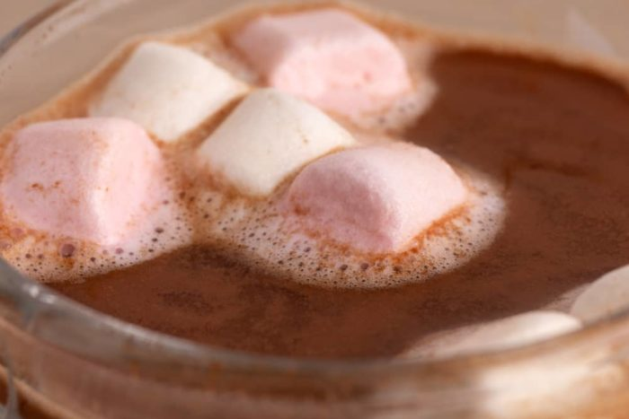 Marshmallows melting in hot chocolate